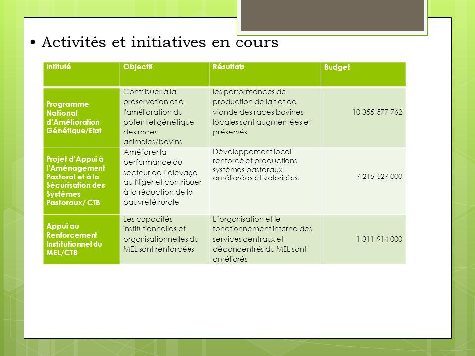 • Activités et initiatives en cours