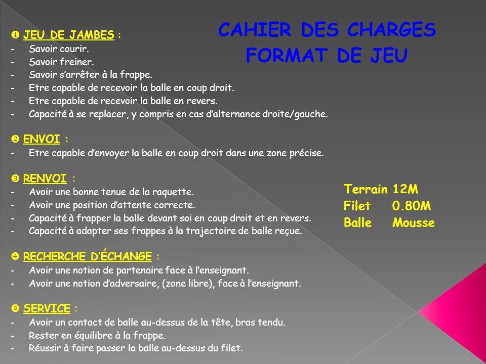 CAHIER DES CHARGES FORMAT DE JEU Terrain 12M Filet 0.80M Balle Mousse