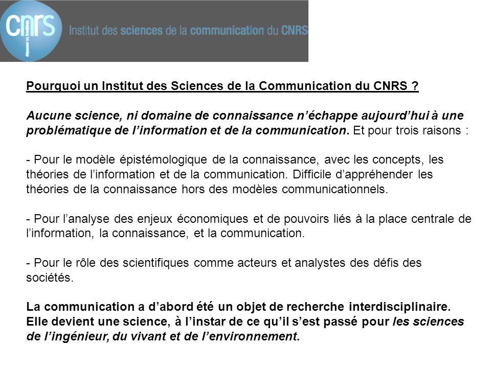 Pourquoi un Institut des Sciences de la Communication du CNRS