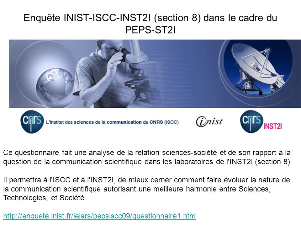 Enquête INIST-ISCC-INST2I (section 8) dans le cadre du PEPS-ST2I