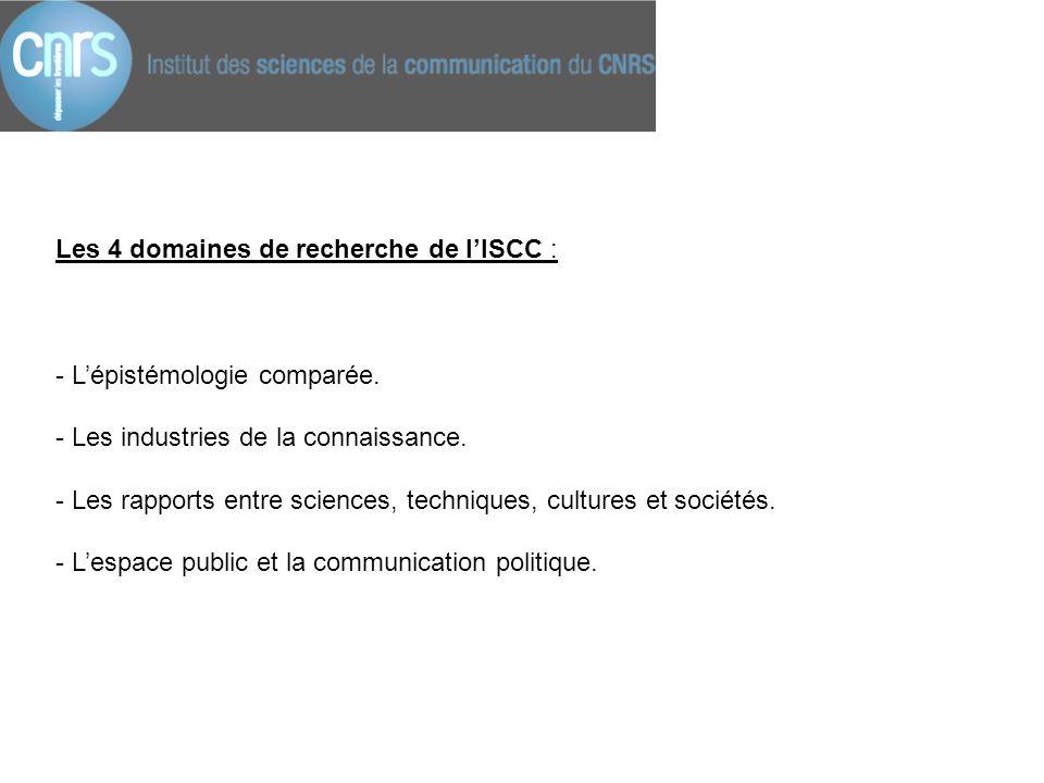 Les 4 domaines de recherche de l'ISCC :