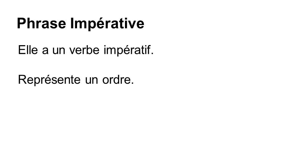 Phrase Impérative Elle a un verbe impératif. Représente un ordre.