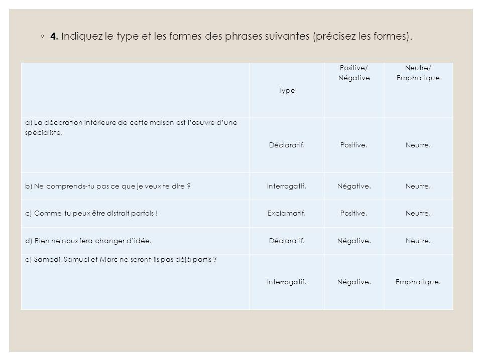 4. Indiquez le type et les formes des phrases suivantes (précisez les formes).