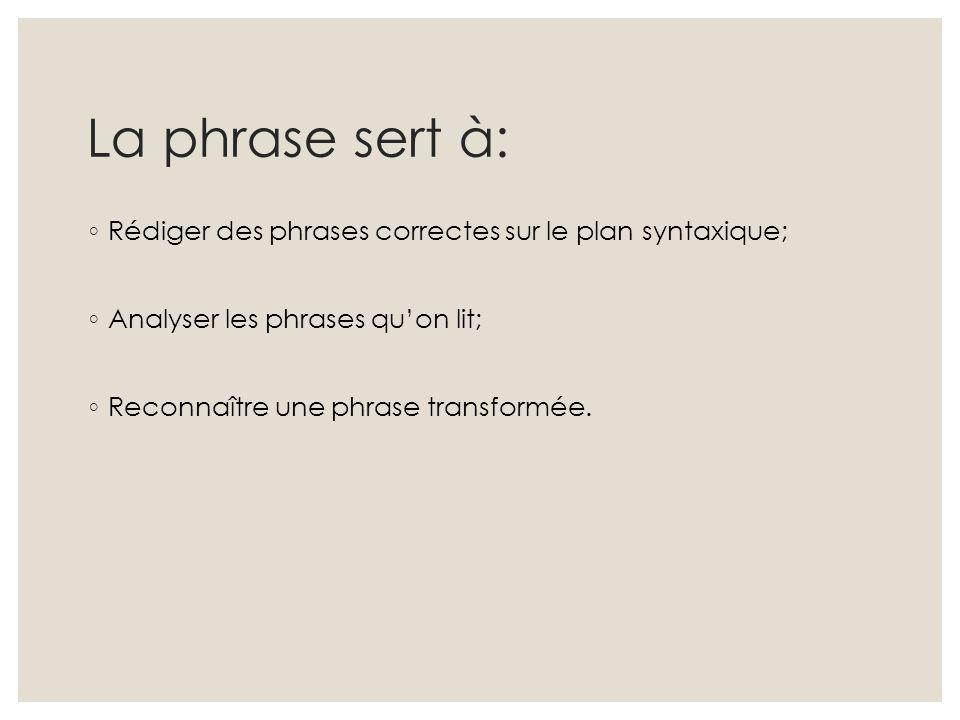 La phrase sert à: Rédiger des phrases correctes sur le plan syntaxique; Analyser les phrases qu'on lit;