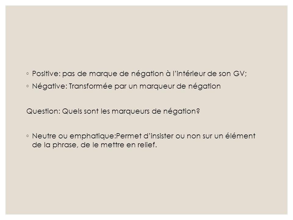 Positive: pas de marque de négation à l'intérieur de son GV;