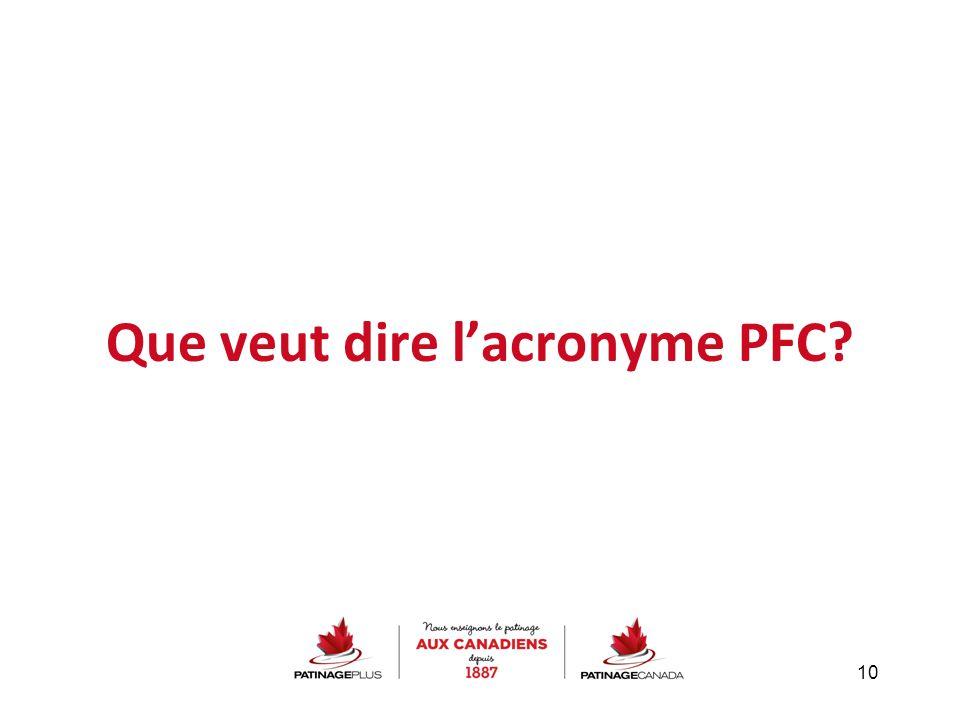 Que veut dire l'acronyme PFC