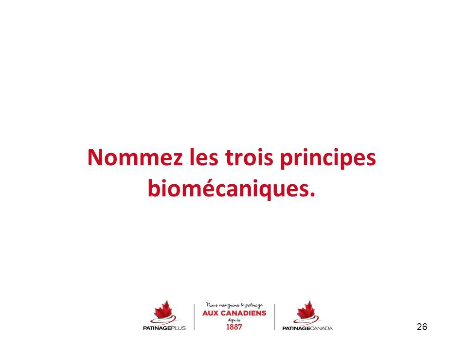 Nommez les trois principes biomécaniques.