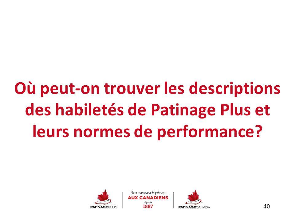 Où peut-on trouver les descriptions des habiletés de Patinage Plus et leurs normes de performance