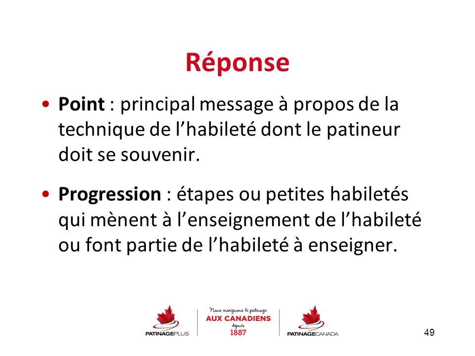 Réponse Point : principal message à propos de la technique de l'habileté dont le patineur doit se souvenir.