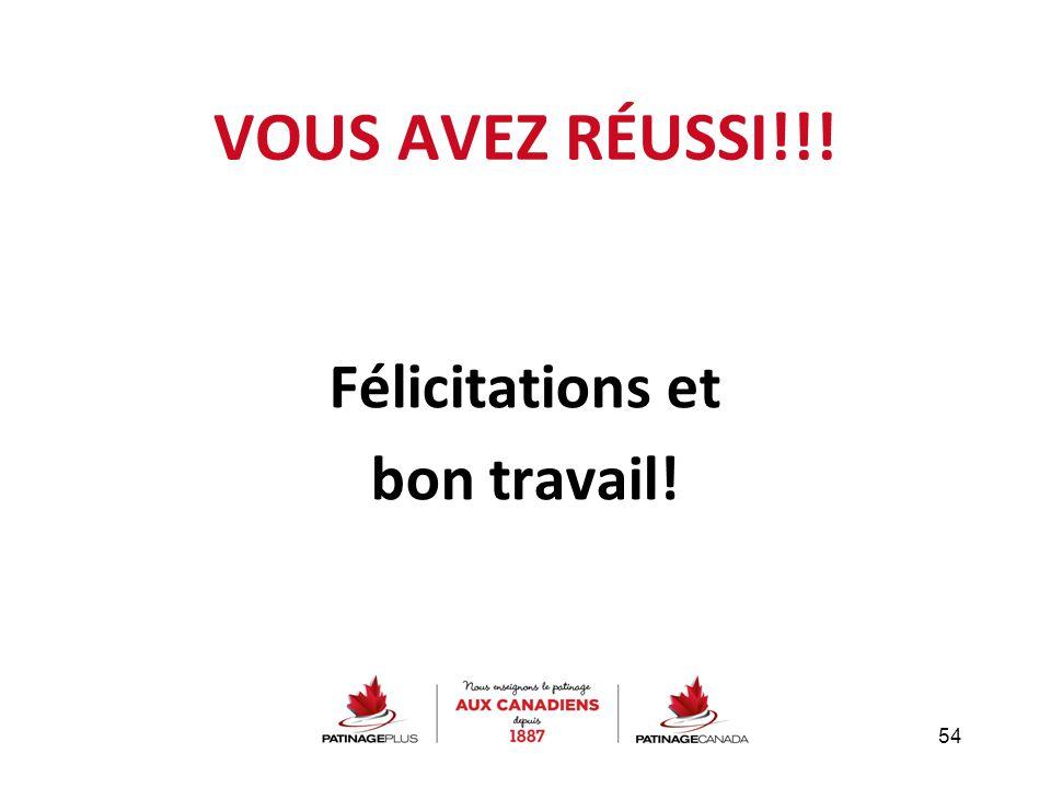 Félicitations et bon travail!