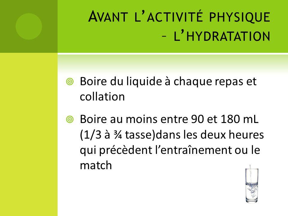 Avant l'activité physique – l'hydratation