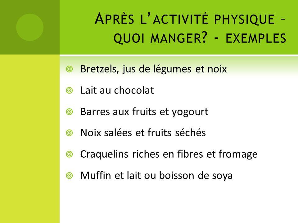 Après l'activité physique – quoi manger - exemples
