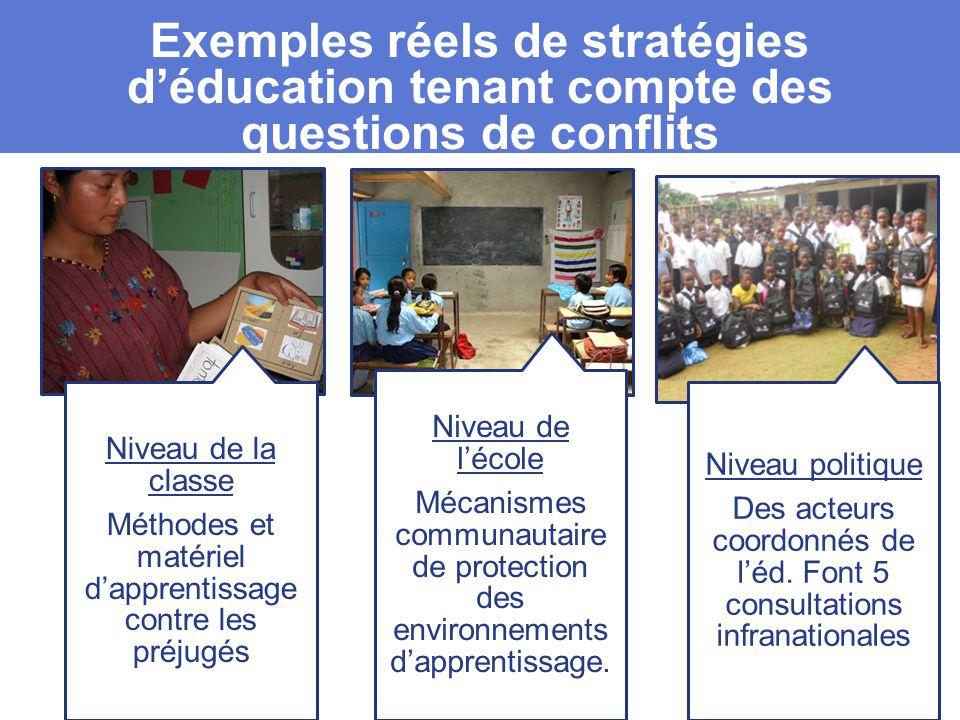 Exemples réels de stratégies d'éducation tenant compte des questions de conflits