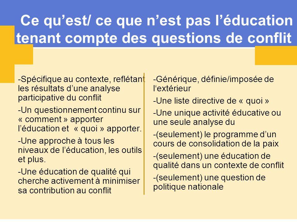 Ce qu'est/ ce que n'est pas l'éducation tenant compte des questions de conflit