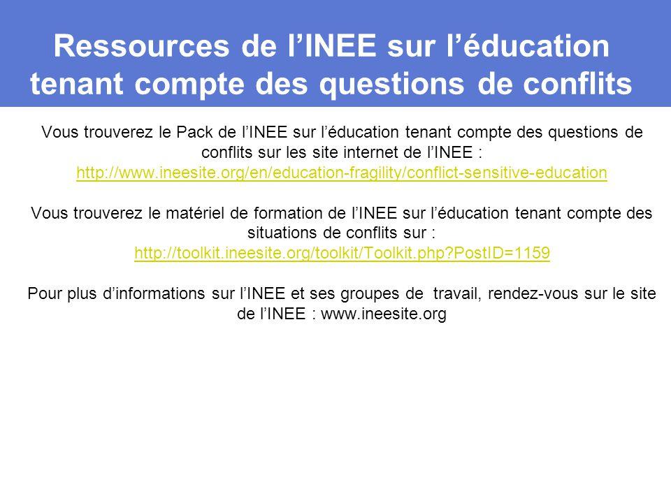 Ressources de l'INEE sur l'éducation tenant compte des questions de conflits