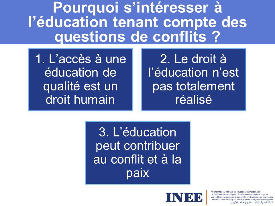 Pourquoi s'intéresser à l'éducation tenant compte des questions de conflits