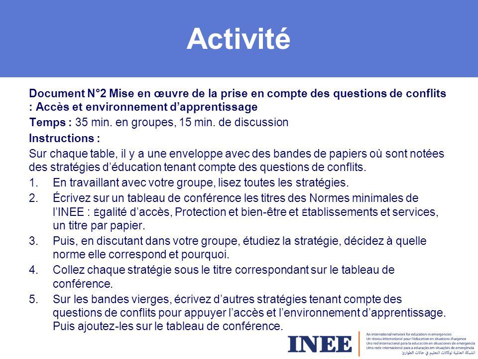 Activité Document N°2 Mise en œuvre de la prise en compte des questions de conflits : Accès et environnement d'apprentissage.