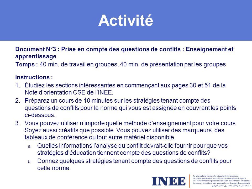 Activité Document N°3 : Prise en compte des questions de conflits : Enseignement et apprentissage.