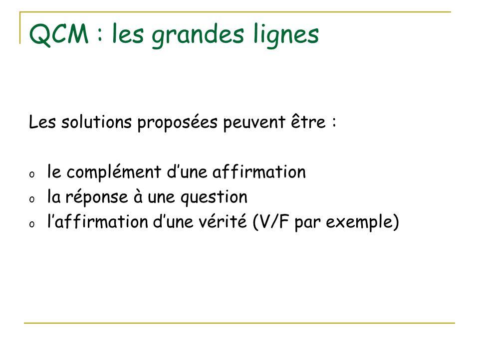 QCM : les grandes lignes