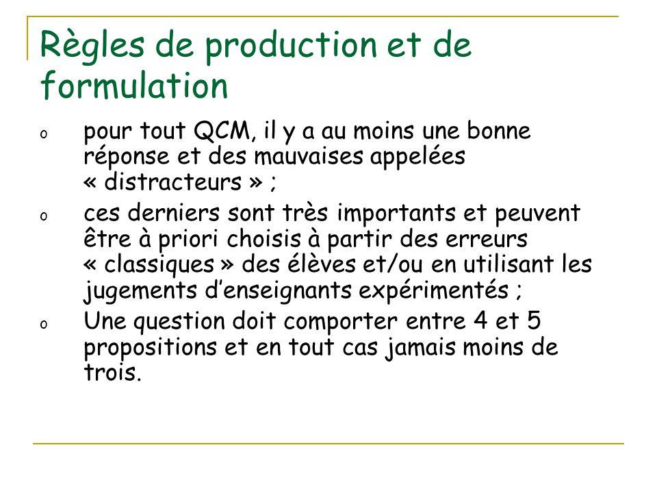 Règles de production et de formulation