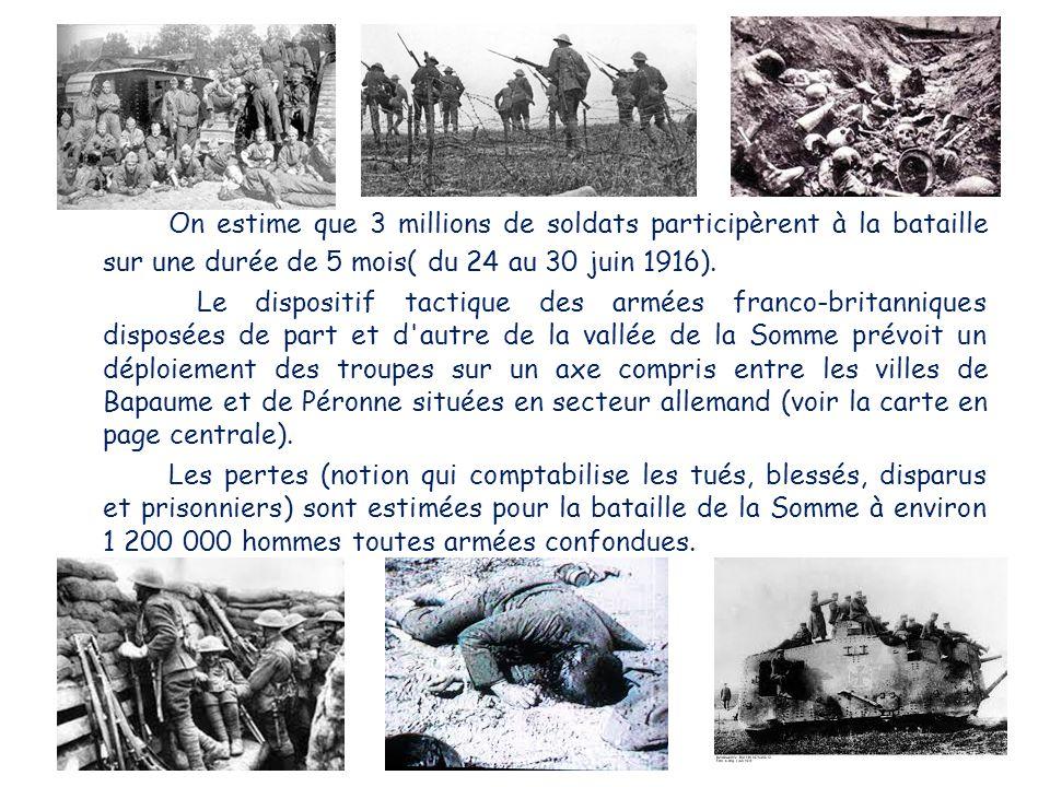 On estime que 3 millions de soldats participèrent à la bataille sur une durée de 5 mois( du 24 au 30 juin 1916).