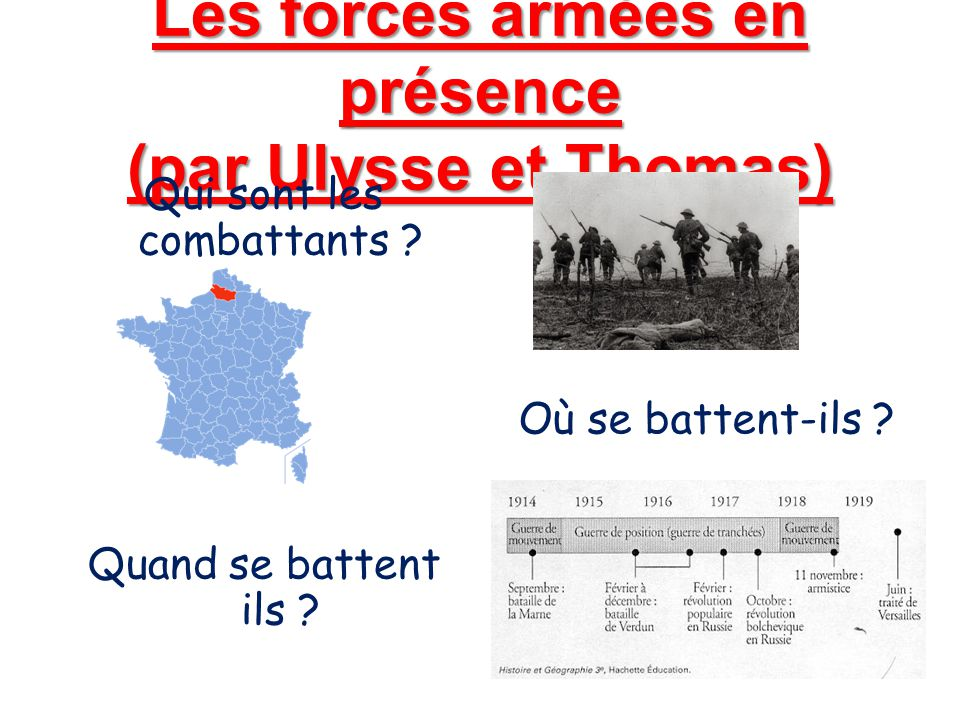 Les forces armées en présence (par Ulysse et Thomas)