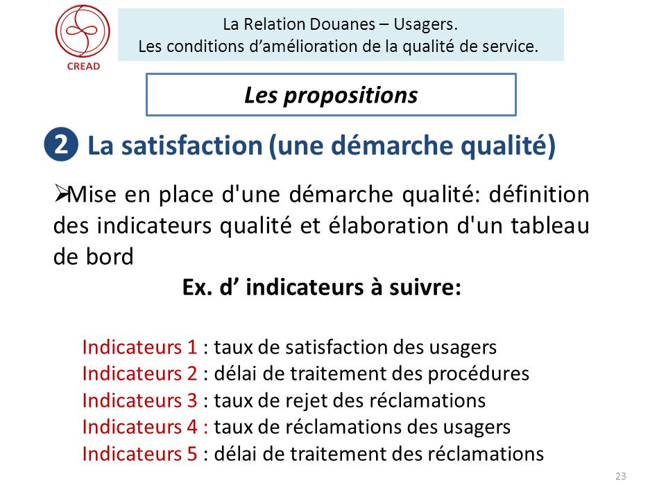 ❷ La satisfaction (une démarche qualité) Ex. d' indicateurs à suivre: