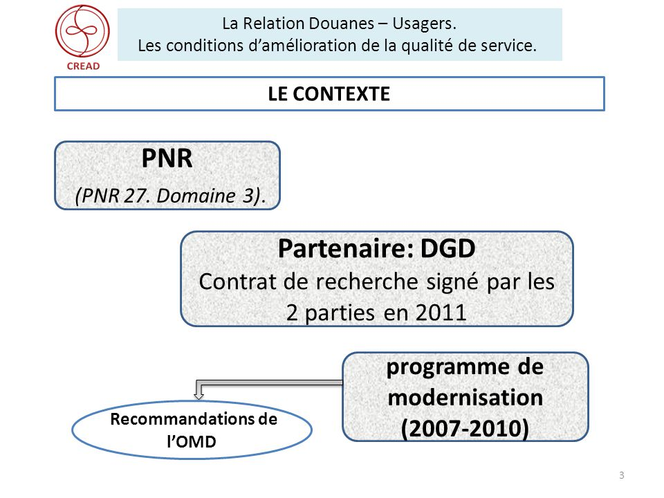 programme de modernisation (2007-2010) Recommandations de l'OMD