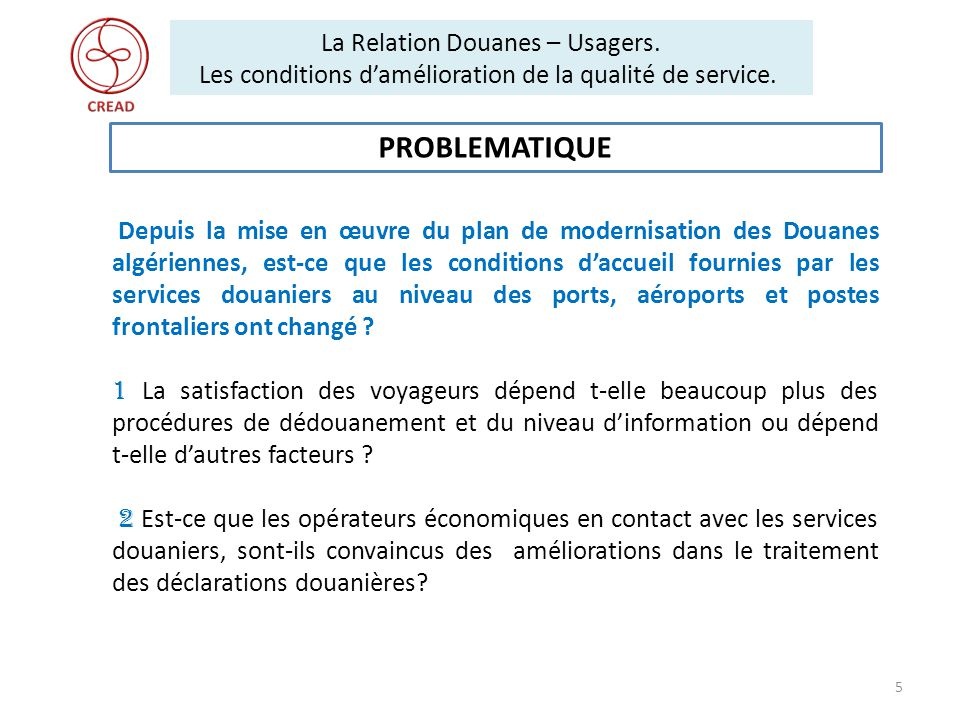 La Relation Douanes – Usagers