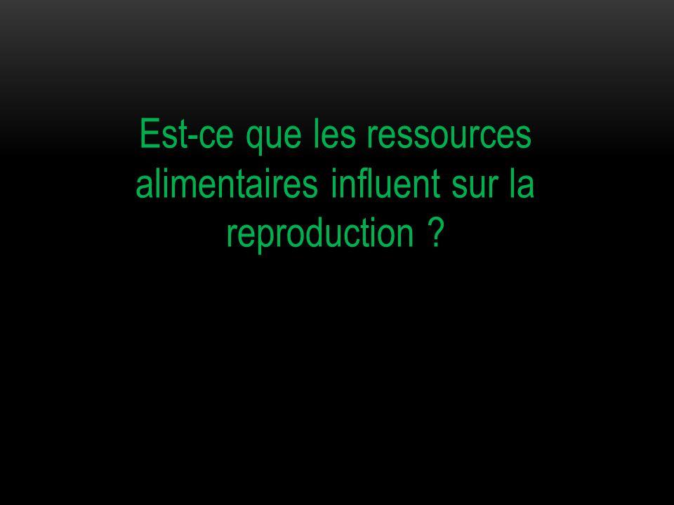 Est-ce que les ressources alimentaires influent sur la reproduction