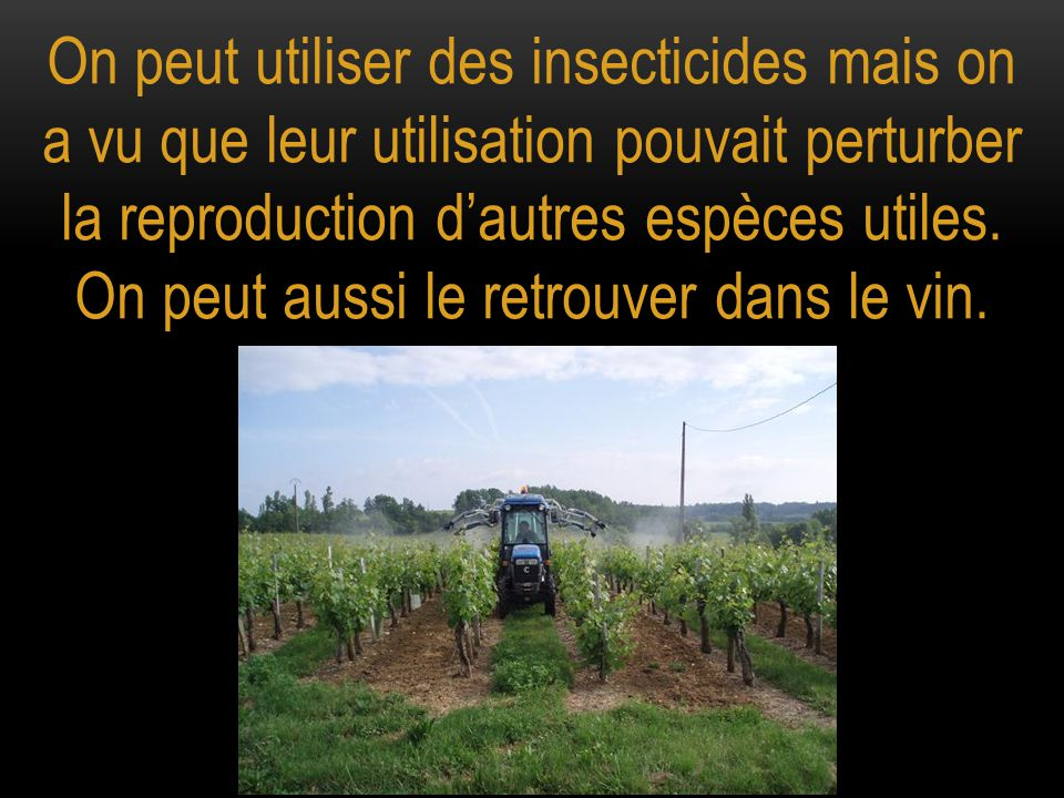 On peut utiliser des insecticides mais on a vu que leur utilisation pouvait perturber la reproduction d'autres espèces utiles.