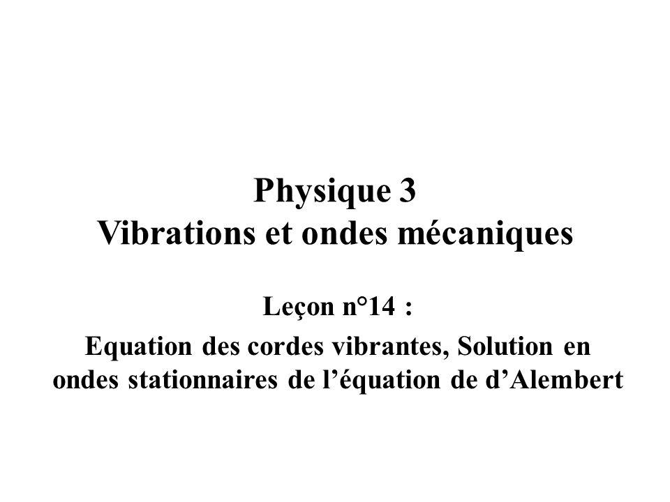 Physique 3 Vibrations et ondes mécaniques