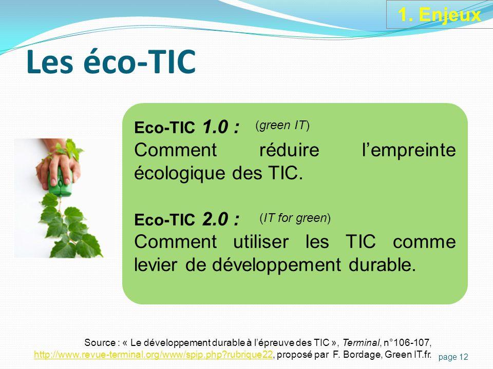 1. Enjeux Eco-TIC 1.0 Eco-TIC 2.0