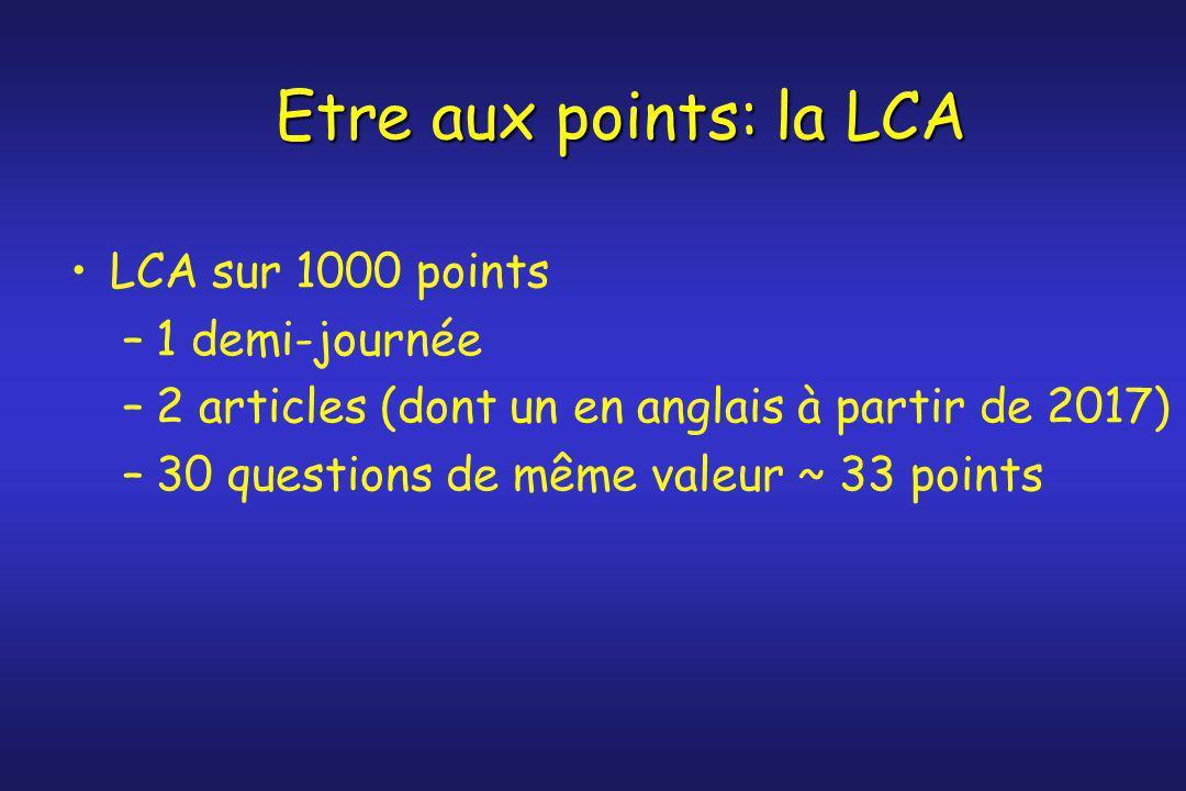Etre aux points: la LCA LCA sur 1000 points 1 demi-journée