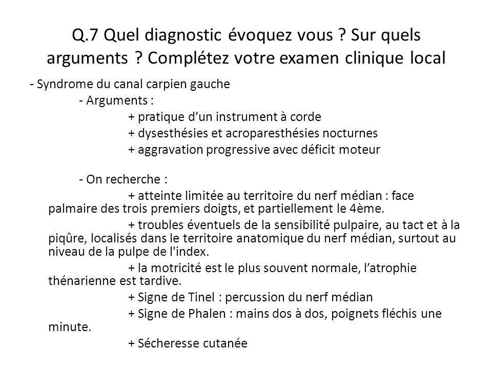 Q. 7 Quel diagnostic évoquez vous. Sur quels arguments