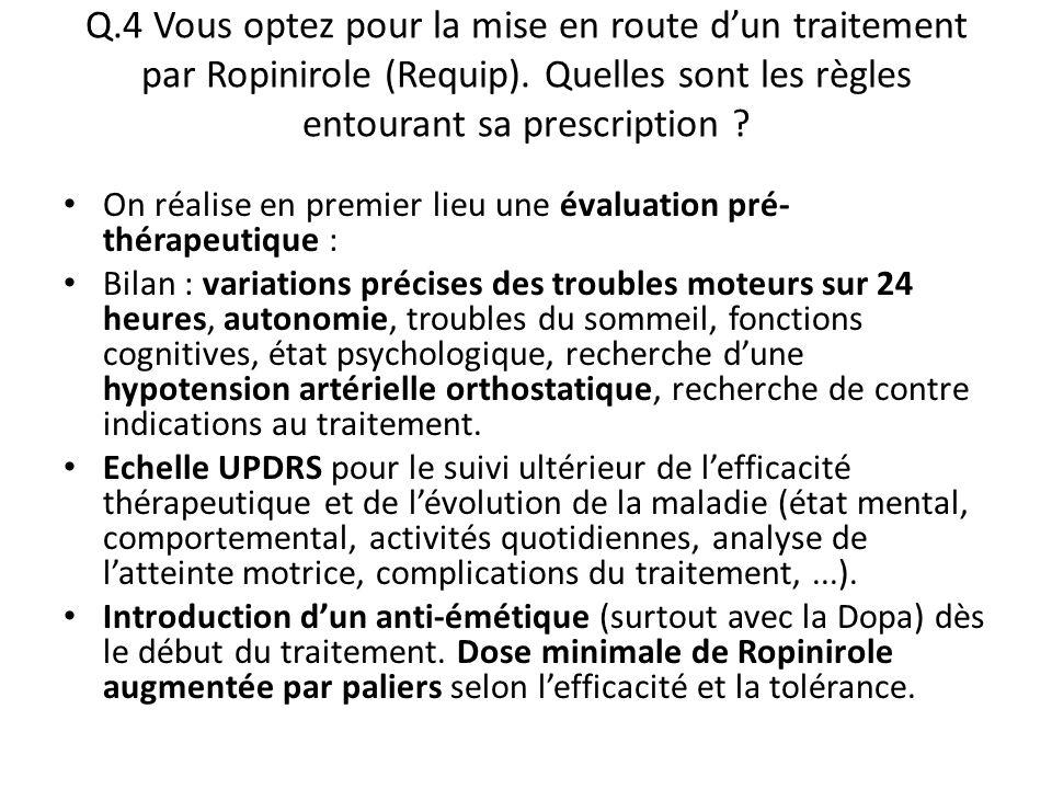 Q.4 Vous optez pour la mise en route d'un traitement par Ropinirole (Requip). Quelles sont les règles entourant sa prescription