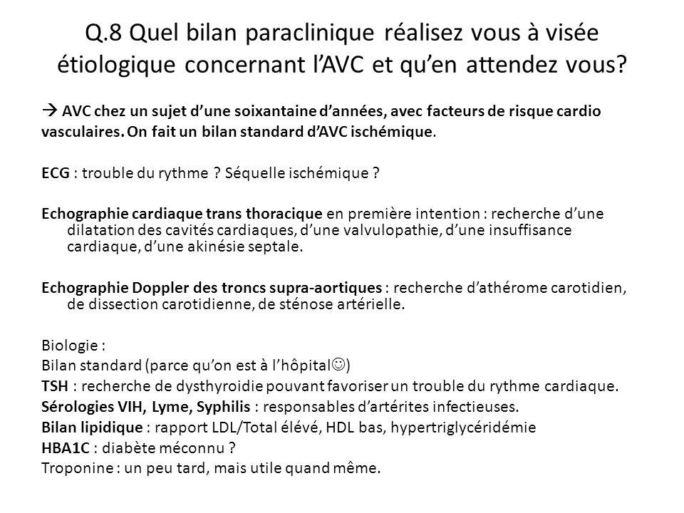 Q.8 Quel bilan paraclinique réalisez vous à visée étiologique concernant l'AVC et qu'en attendez vous