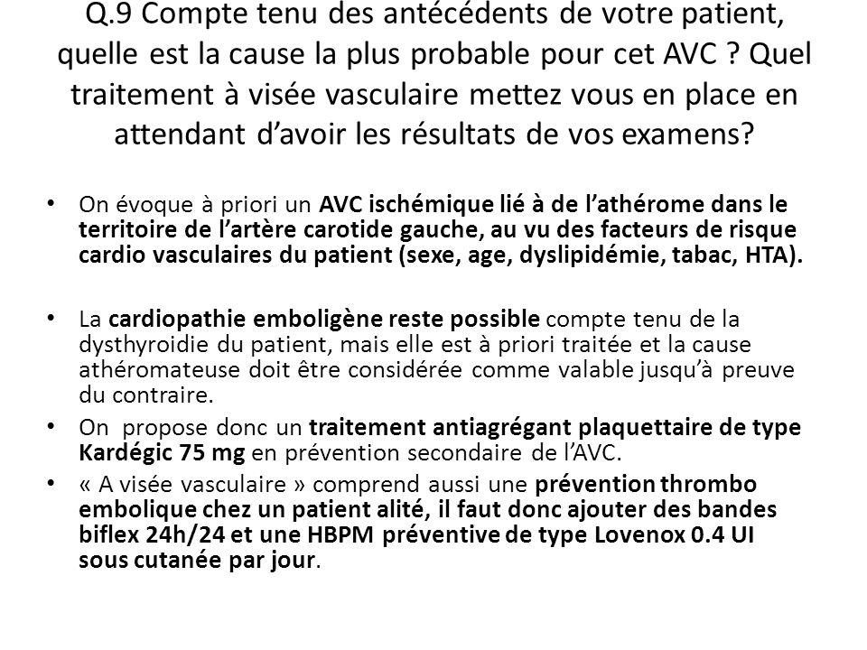 Q.9 Compte tenu des antécédents de votre patient, quelle est la cause la plus probable pour cet AVC Quel traitement à visée vasculaire mettez vous en place en attendant d'avoir les résultats de vos examens