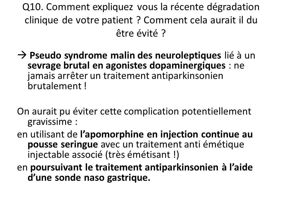 Q10. Comment expliquez vous la récente dégradation clinique de votre patient Comment cela aurait il du être évité