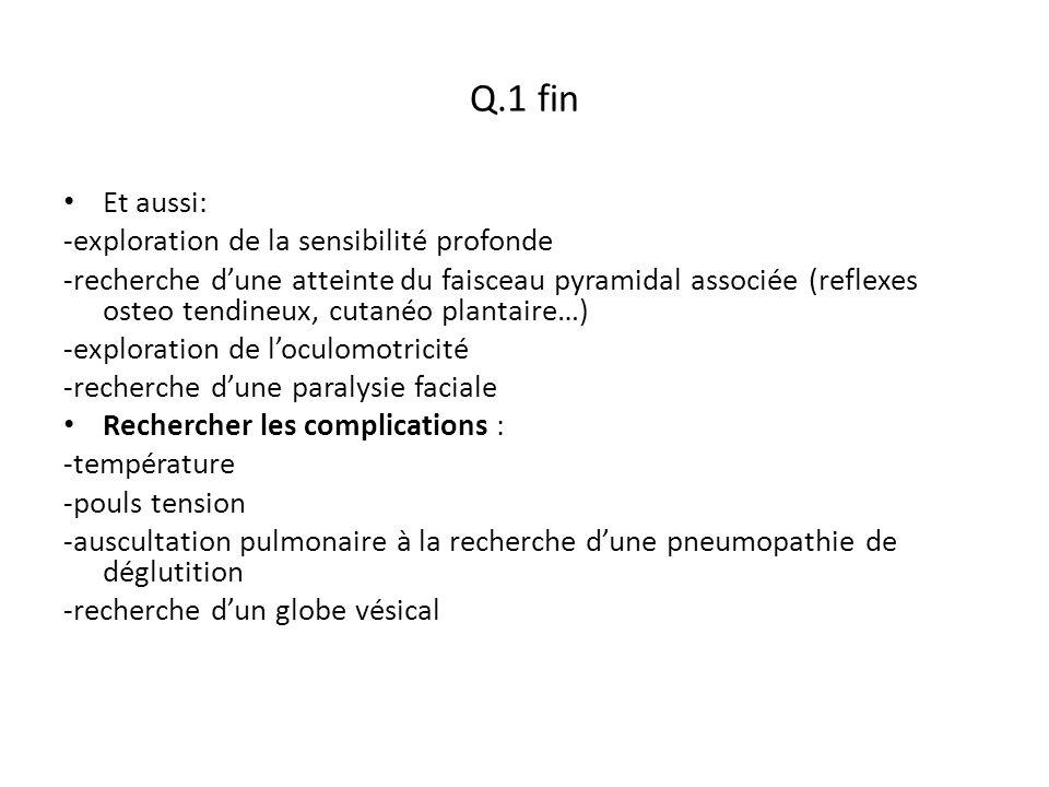 Q.1 fin Et aussi: -exploration de la sensibilité profonde