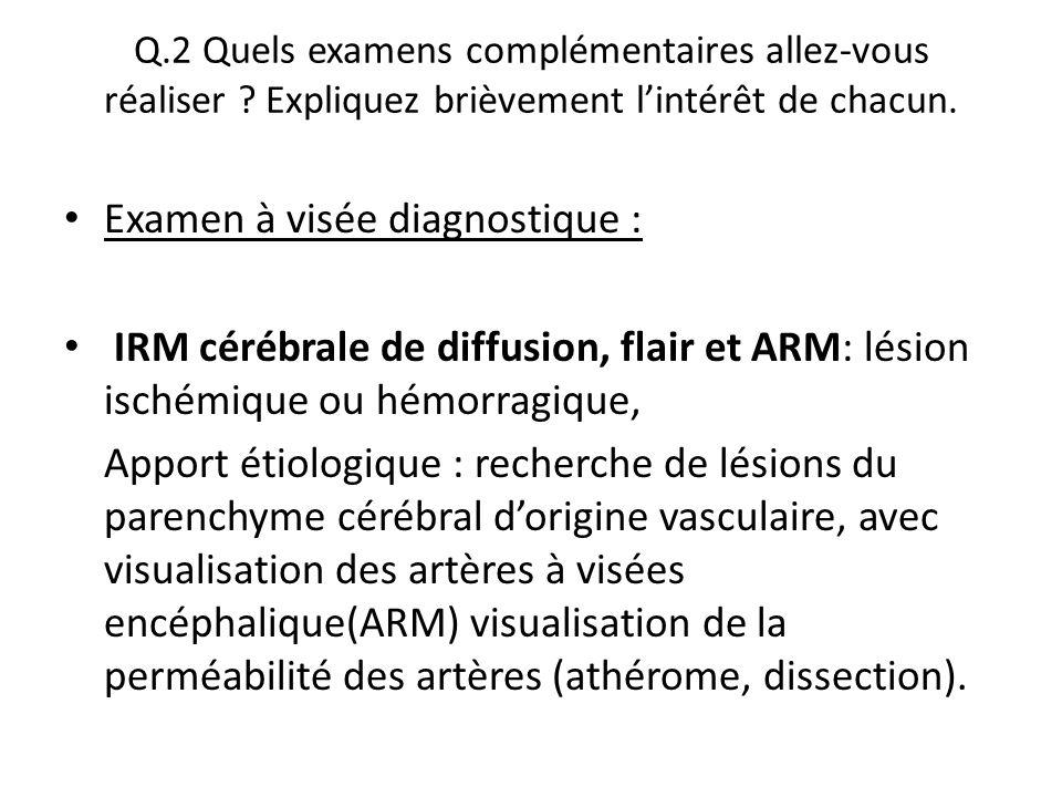 Examen à visée diagnostique :