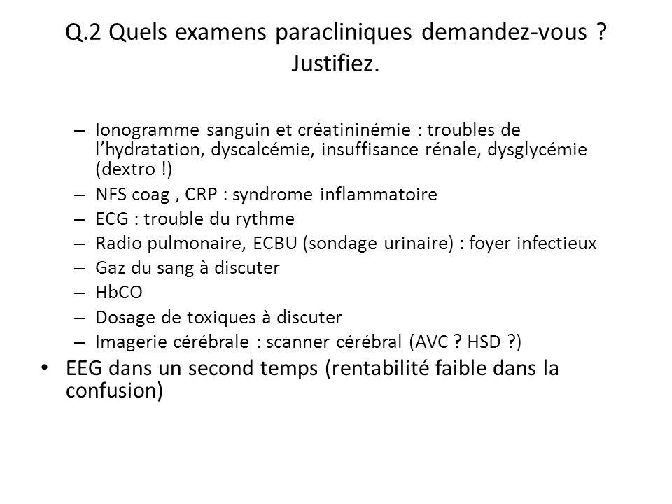 Q.2 Quels examens paracliniques demandez-vous Justifiez.