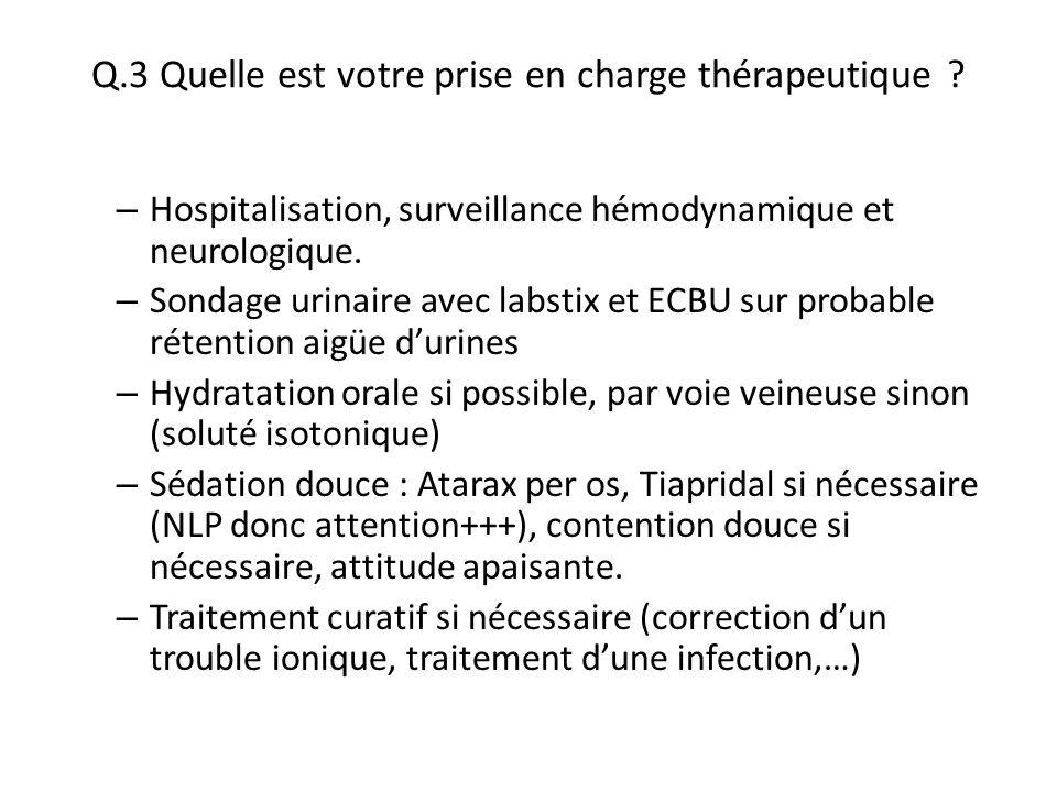 Q.3 Quelle est votre prise en charge thérapeutique