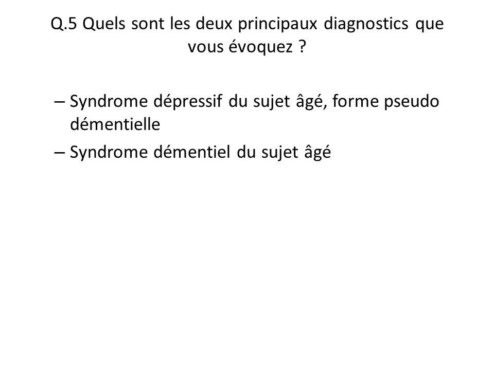 Q.5 Quels sont les deux principaux diagnostics que vous évoquez