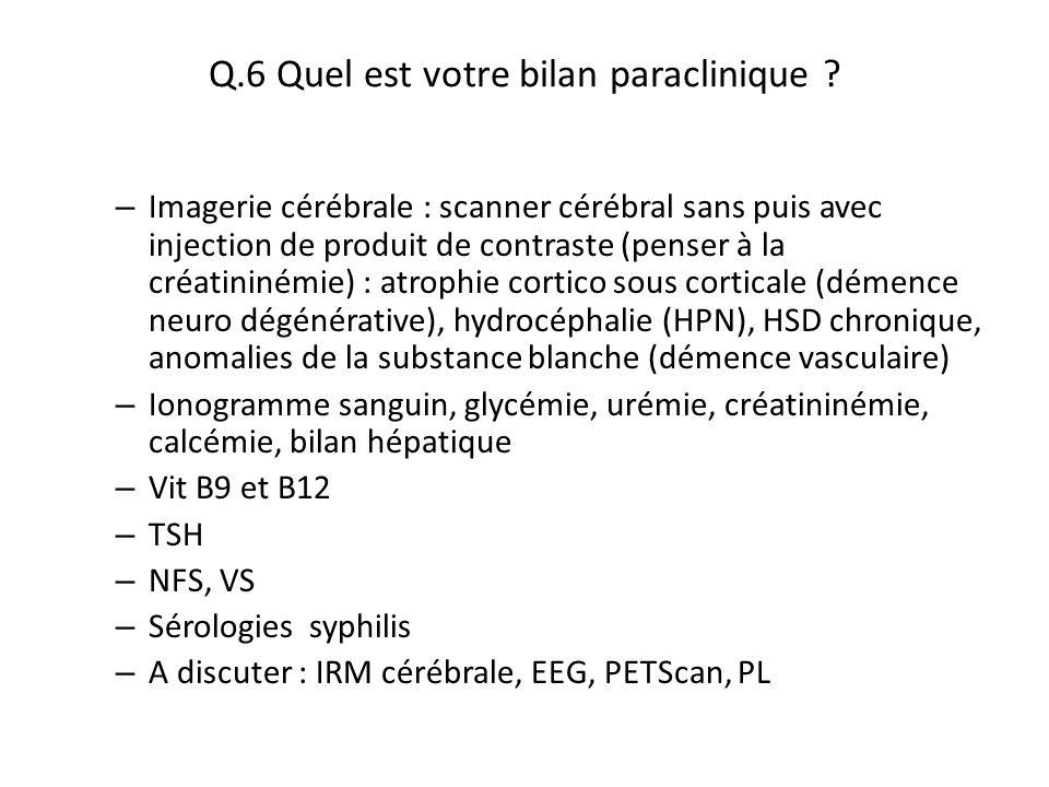 Q.6 Quel est votre bilan paraclinique