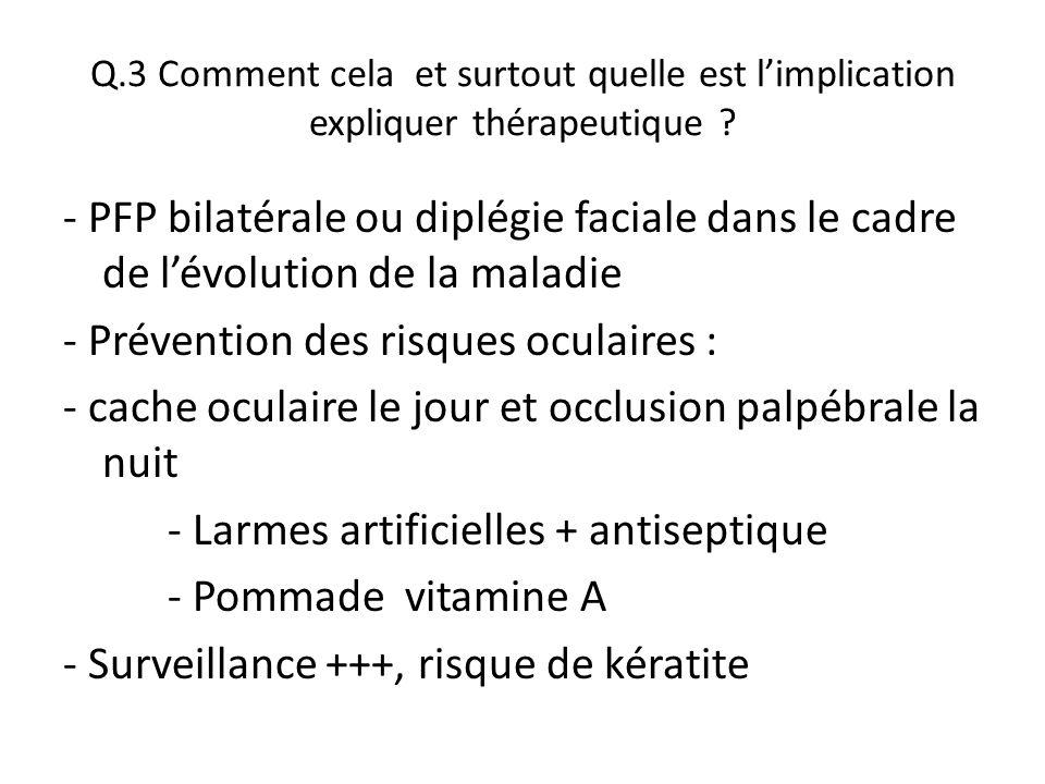 Q.3 Comment cela et surtout quelle est l'implication expliquer thérapeutique