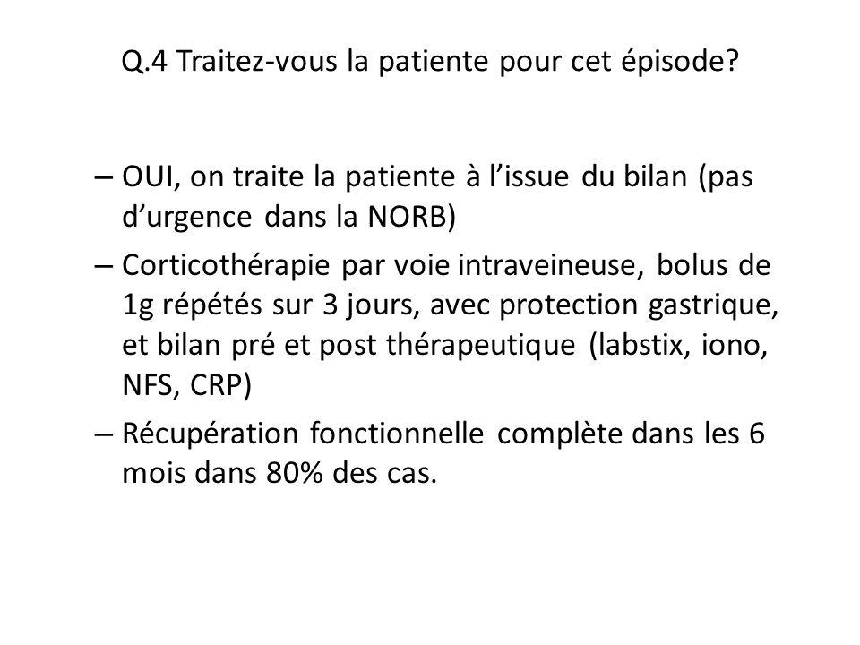 Q.4 Traitez-vous la patiente pour cet épisode