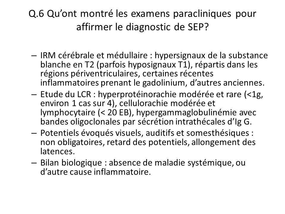 Q.6 Qu'ont montré les examens paracliniques pour affirmer le diagnostic de SEP