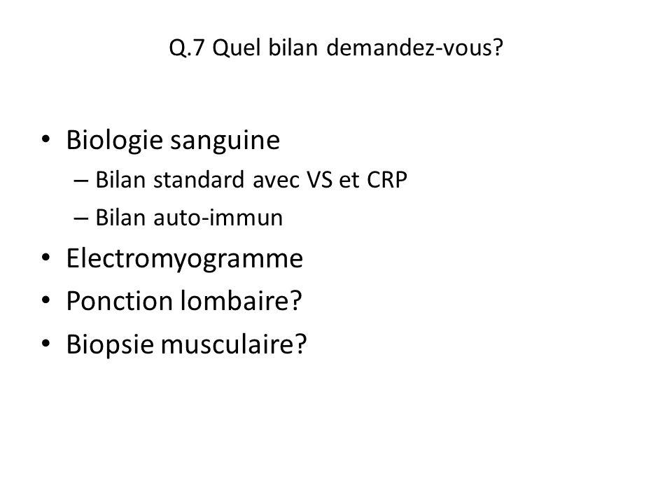 Q.7 Quel bilan demandez-vous