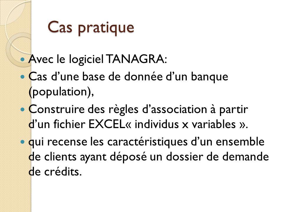 Cas pratique Avec le logiciel TANAGRA: